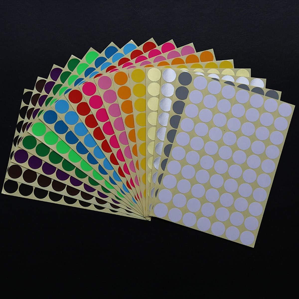 a pois colorati autoadesive 19 mm per calendari Confezione da 4480 etichette adesive a pois 16 colori assortiti