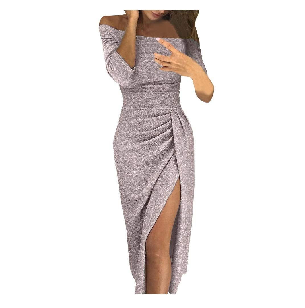 Winsummer Women Off Shoulder Ruched High Slit Metallic Glitter Evening Party Dress Elegant Cocktail Bodycon Midi Dresses by Winsummer (Image #1)