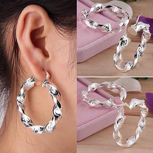 1 Pair Fashion Style Women Lady Girl Twist Circle Ear Hoop Round Earrings ()