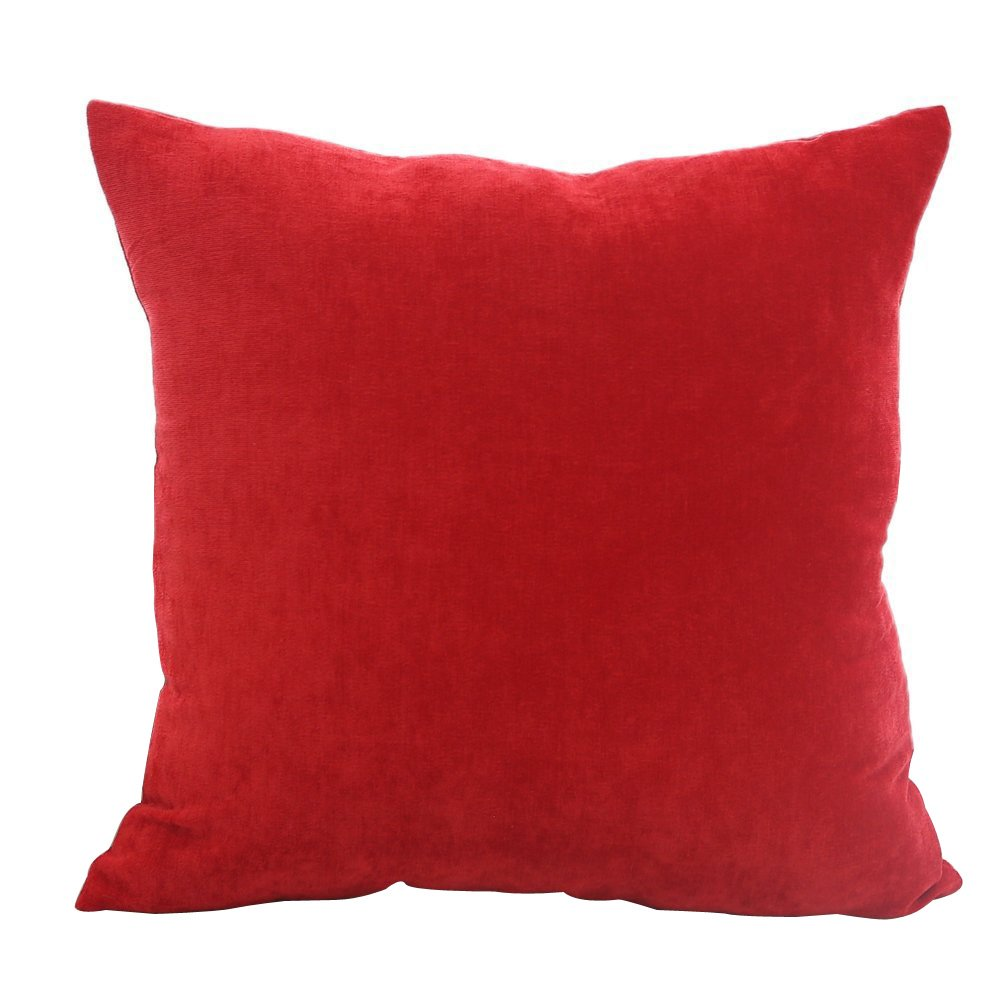 Deconovo Faux Velvet Corduroy Home Decorative Hand Made Pillow Case Cushion Cover for Car, 18x18-inch, Scarlet
