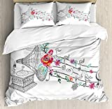 Music Decor 4 Pieces Bedding Set Twin, Vintage Gramophone Record Player with Floral Ornament Blossom Antique, Duvet Cover Set Decorative Bedspread for Childrens/Kids/Teens/Adults, Grey Pink