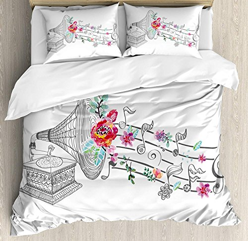Funy Decor Music Bedding Set, Vintage Gramophone Record Player with Floral Ornament Blossom Antique, 4 Piece Duvet Cover Set Bedspread for Childrens/Kids/Teens/Adults, Grey Pink Twin Size by Funy Decor