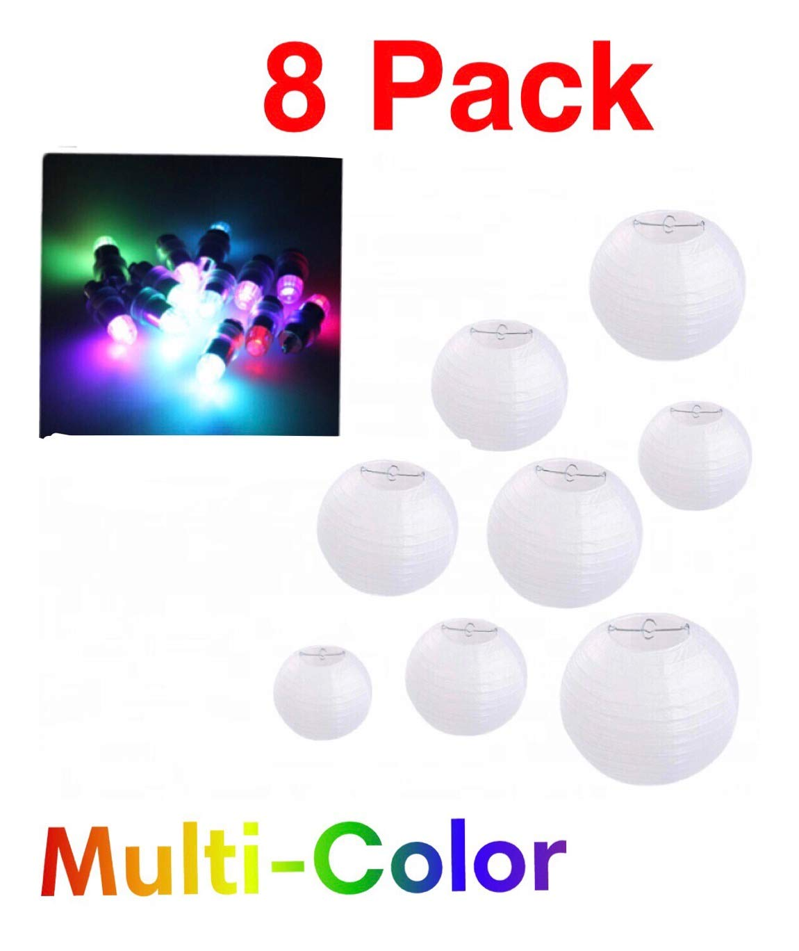 Paper Lanterns 12 inch White Round 8 Pack with Multi Color Changing Party Lights | for Weddings, Parties & Celebration