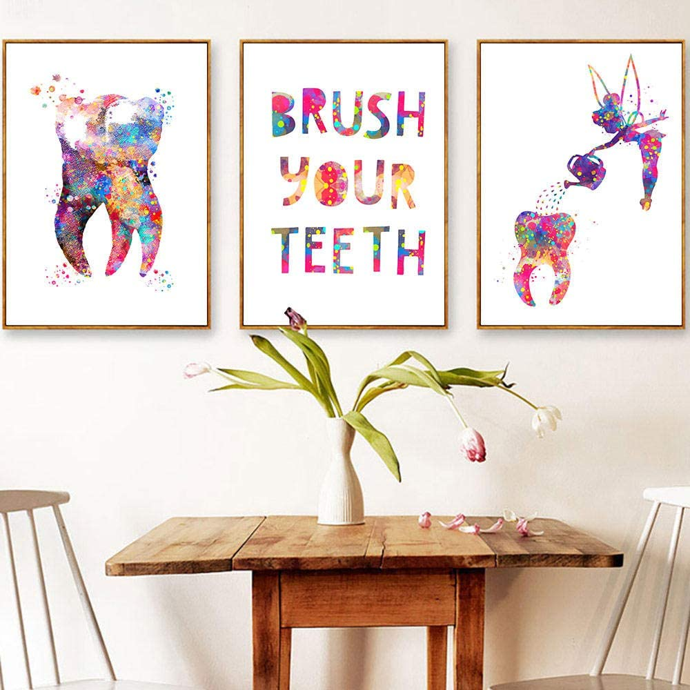 LZHNB Tooth Fairy Watering Can Canvas Wall Art Prints Dental Poster Painting Pictures Doctors Office Decor-40x60cmx3 pcs no Frame