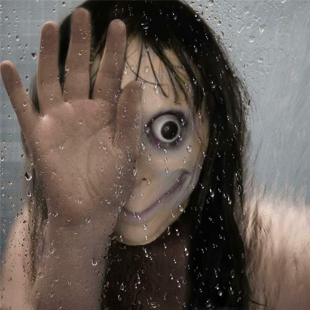 Juego De La Muerte Juego De Momo Máscara De Tern Juego De La Muerte Con El Pelo Largo Fiesta De Disfraces De Halloween, Horror Espeluznante Látex ...