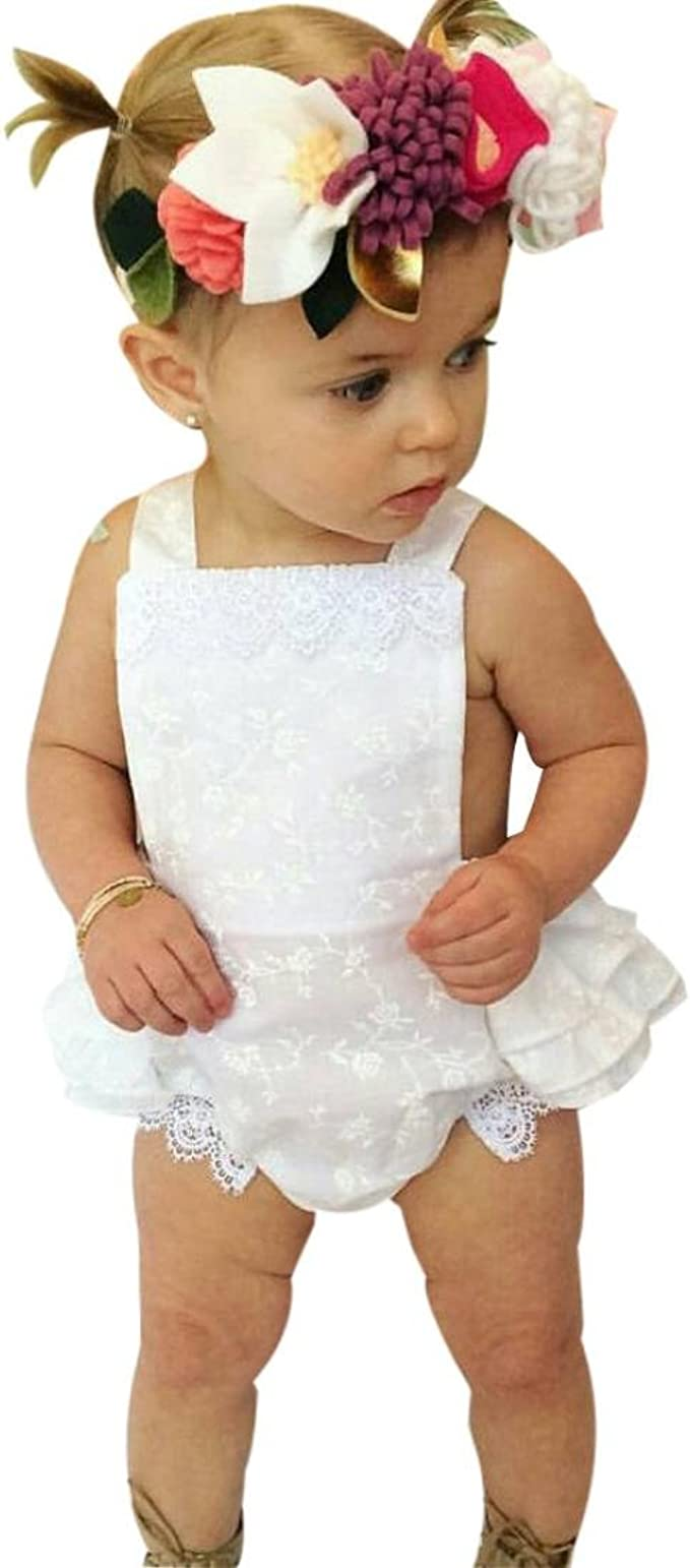 Newborn Baby Girls Backless Lace Bodysuit Romper Headband Sunsuit Clothes