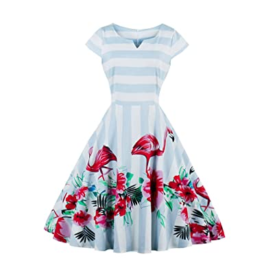 Fall Winter Dress For Women Vintage Dress Flamingo Print Elegant Pattern Feminino Vestidos Swing Dress,