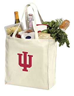 Reusable Indiana University Grocery Bags or IU Shopping Bags Natural Cotton