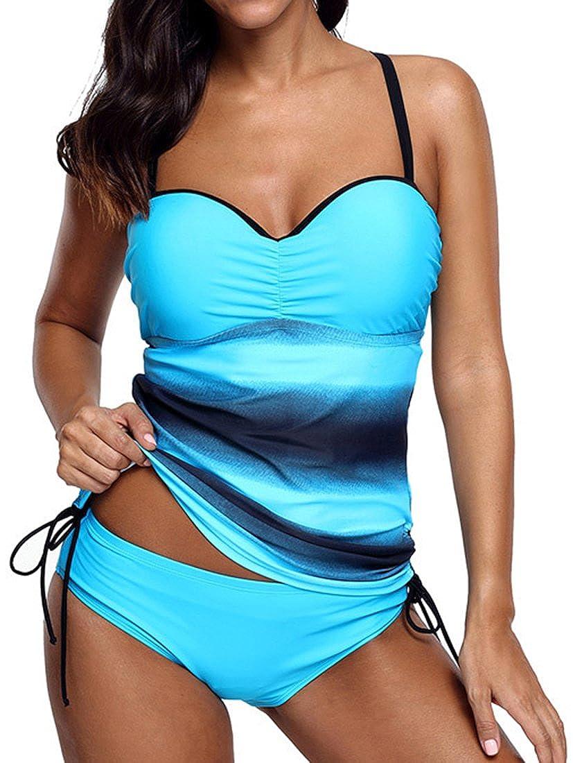 Eudolah Bikinis Conjuntos Push up Dos Cambio de Color Cordón en el Nuca Halter Atractiva de Baño
