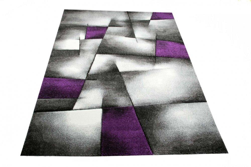 Modern carpet short pile livingroom carpet abstract checkout white gray black purple size 60x110 cm