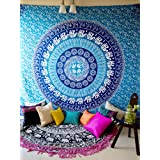 Elephant Mandala Tapestry Wall Hanging Hippie Bohemian Boho Art, Indian Ombre Hippy Mandala Bedding Bedspread Set for Bedroom, College Dorm Room Accessories or Beach Throw Blanket - Twin Size, Blue