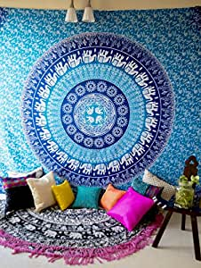 Folkulture Blue Elephant Mandala Tapestry Hippie Wall Hanging, Indian Ombre Bohemian Mandala Bedding Bedspread Set for Bedroom, College Dorm Room Wall Art or Home Decor, Queen Size Boho Coverlet