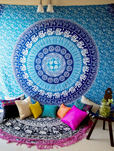 Hippie Elephant Mandala Tapestry Wall Hanging, Blue Bohemian Art or Indian Ombre Hippy Bedding Bedspread Set for Bedroom, College Dorm Room Accessories or Beach Blanket, Queen Size Flat Boho Bed Cover (Tablecloths Space Round Living)