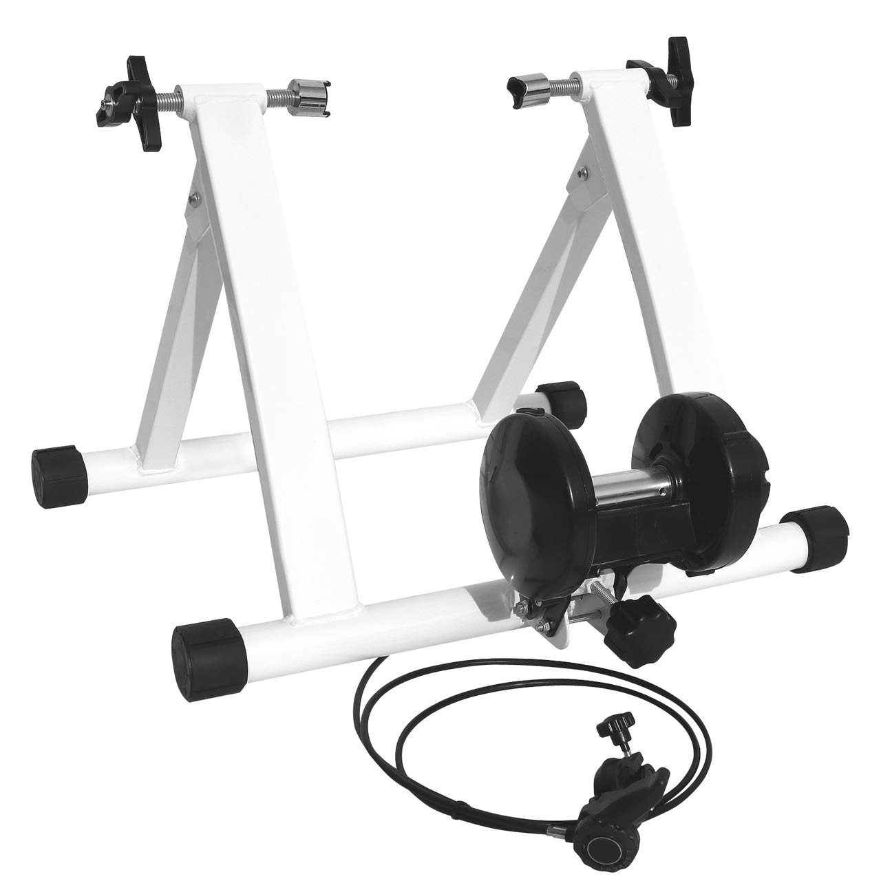 WELLGRO® Rollentrainer für zu Hause inkl. 7-Gang Schaltung, Stahl, schwarz oder weiß