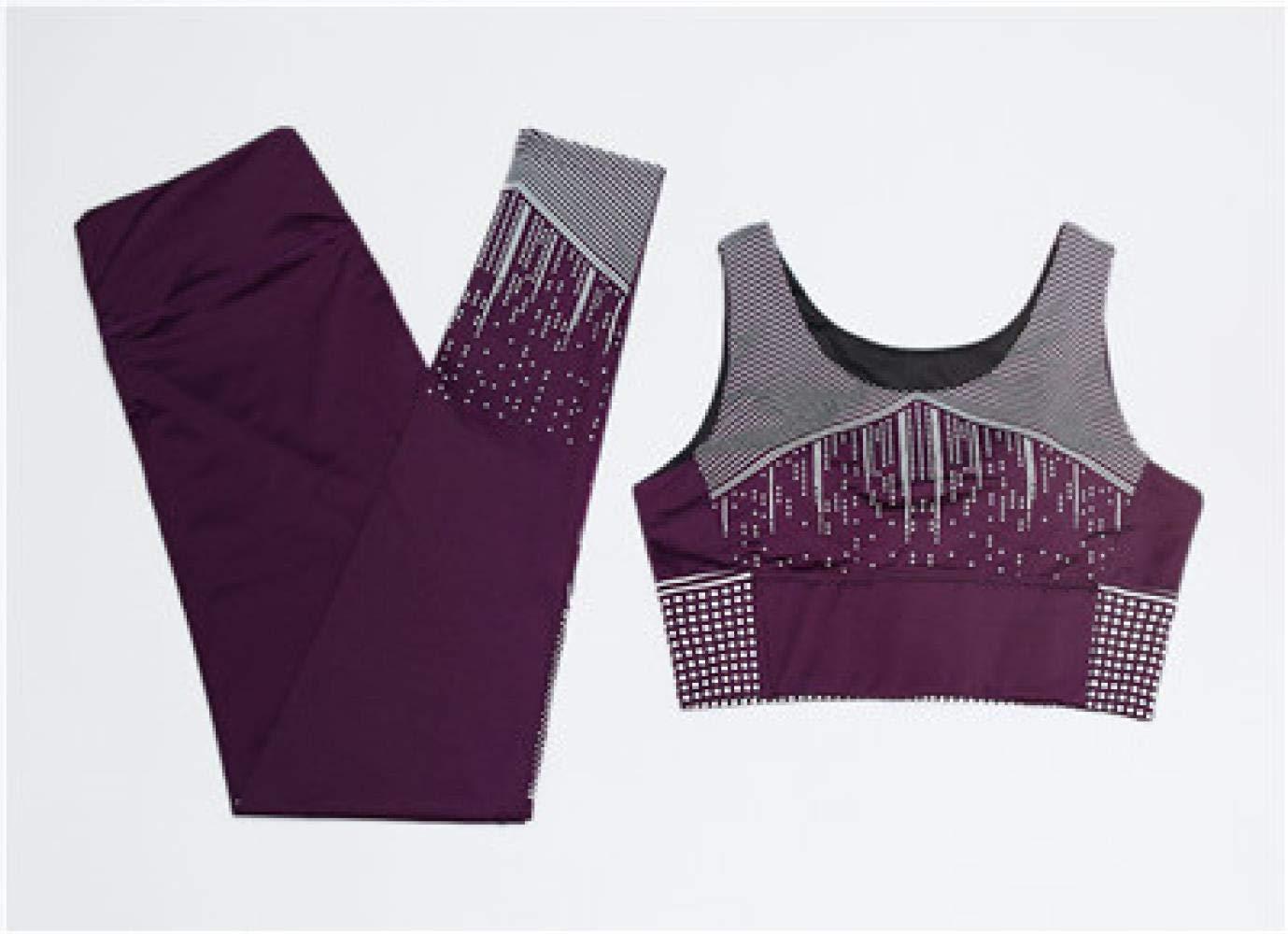 YANGCONG Yoga Fitness Bekleidung Frauen Yoga Set Weste + Strumpfhose Sportbekleidung Gym Sport BH Hosen Fitness Sport Anzug Laufbekleidung 2 STÜCKE Lila M