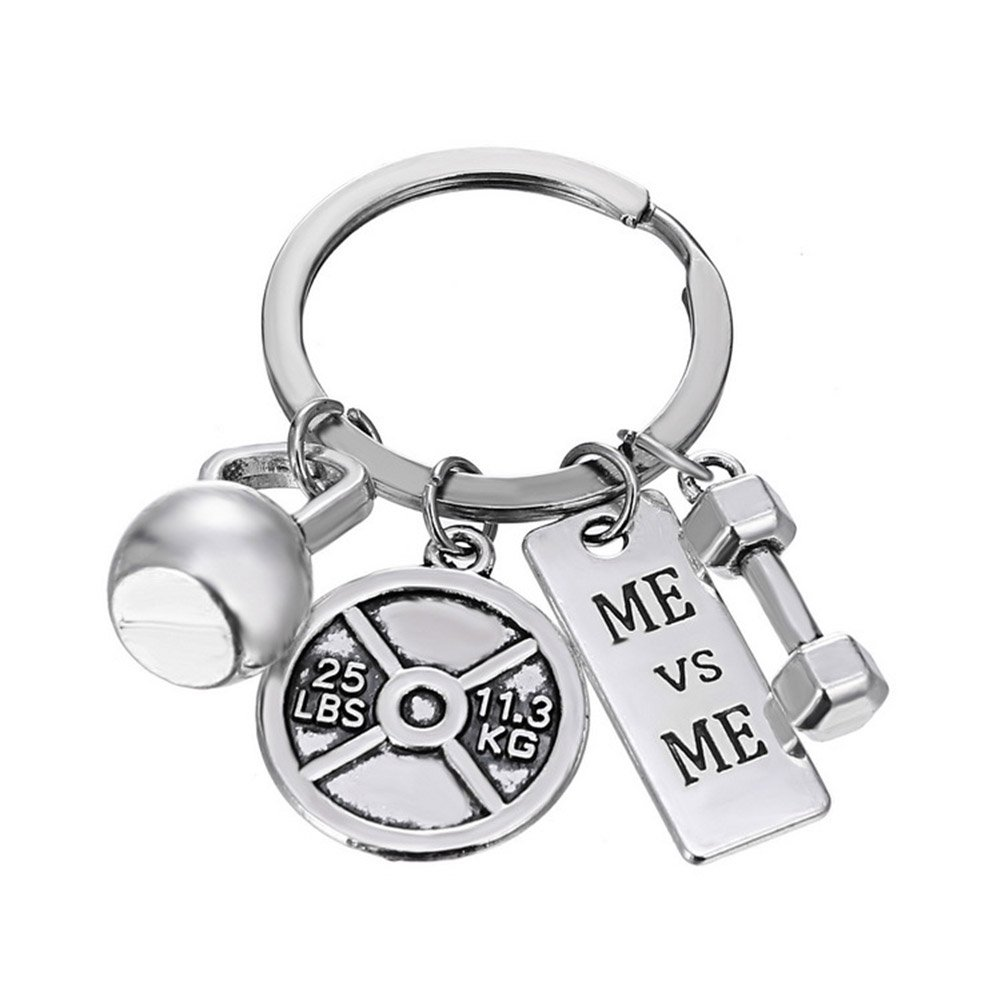 MayLove Strong Is Beautiful Weightlifting Motivational Fitness Fit Weight Plate Dumbbell Kettlebell Keychain Keyring ML-01-0020