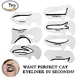 Travelmall - 4 Stencil per applicare Eyeliner Cat-Eye e Smoky Eyes e per sopracciglia – Strumento di Trucco per applicazione perfetta dell'Eyeliner con codina.