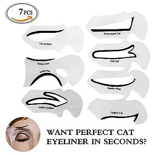 Travelmall-Set in 6/7 Sombra de Ojos de La Plantilla Ojo Aseo Conformacion Cintas para Párpados y Mucho Estilo para Delineador de Ojos y Herramientas de Maquillaje en Diseño Nuevo y Moda Usa en 2 Caras -Alta calidad (#1 (7pcs))