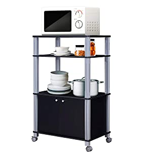 Giantex Rolling Kitchen Baker's Rack Microwave Oven Stand Utility Cart Multifunctional Display Shelf on Wheels with 2-Tier Shelf and Cabinet Spice Organizer for Kitchen Dining Room Furniture (Black)