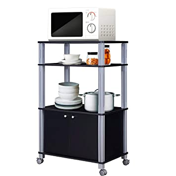 Giantex Rolling Kitchen Bakeru0027s Rack Microwave Oven Stand Utility Shelf On  Wheels Storage Cart Spice Workstation