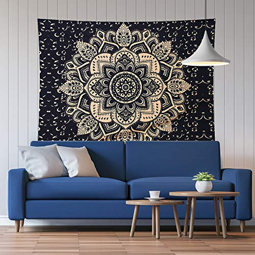 Anver Bohemian Tapestries Mandala Wall Hanging Bed Tapestry, No Fading No Chemical Smell, Soft Silky Smooth, Christmas Decorations, Peacock Hippie Tapestries for Home Décor (51'' x 59'', Black)