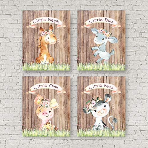 - Farm Rustic Animals Nursery Set of 4 Baby Shower Cow Horse Pig Sheep Western Rustic Home Decor Wall Art Print 8 x 10 inches