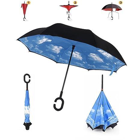 Paraguas Invertido Doble capa A prueba de viento Paraguas con Manos libres Apretón, Paraguas de