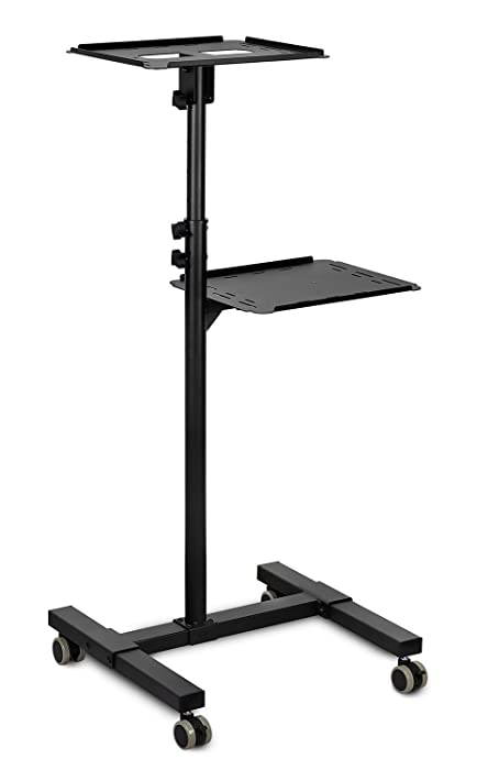Mount-It! Mobile Projector Stand, Rolling Height Adjustable Laptop and Projector Presentation Cart and Trolley, Black