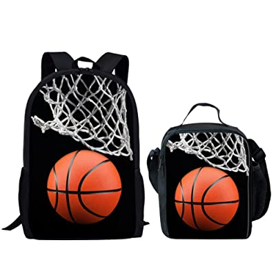 HUGS IDEA Basketball Kids Backpack Kids Boys School Bag with Lunch Box Set | Kids' Backpacks