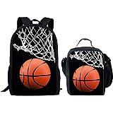 HUGS IDEA Basketball Kids Backpack Kids Boys School Bag with Lunch Box Set