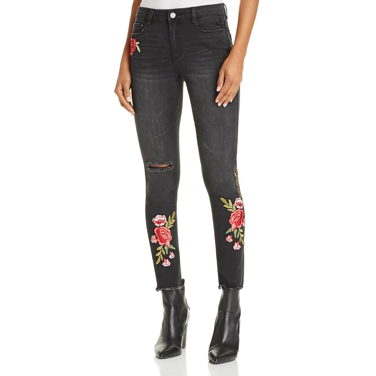 Banjara Womens Skinny Embroidered Ankle Jeans