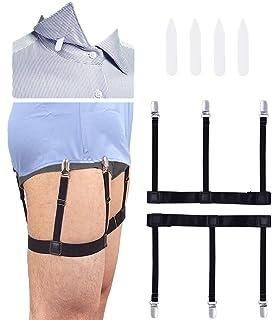 STAY GENT 2 Pares(4 piezas) de Tirantes Camisas Shirt Stays Estilo Manténgase Camisas de Vestir con Ligas Antideslizantes y Correas Ajustables, Negro: Amazon.es: Ropa y accesorios