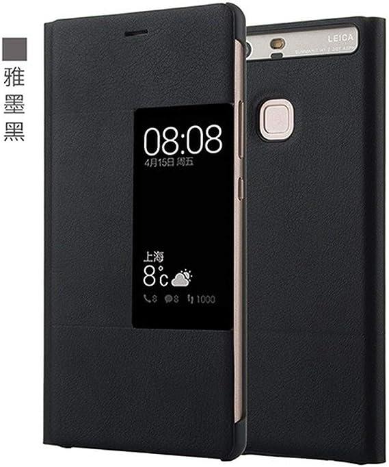 PU Funda Flip de Cuero para Huawei P9 Plus Estilo Original Ventana de la Cubierta del teléfono móvil Inteligente Flip Caso para Huawei P9 Plus (Black,For Huawei P9): Amazon.es: Electrónica