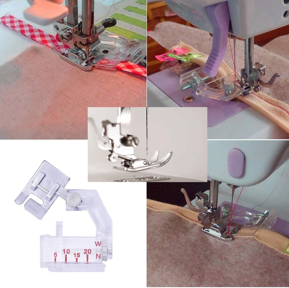 Sewing Bias Tape Maker Set JASSINS Fabric Bias Tape with Binder Foot Sewing Awl Bead Needles 6mm 12mm 18mm 25mm Quilting Clips Sewing Pins Kit 4-Piece Set