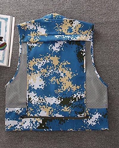 para Hombres De Chaqueta Multibolsillo Pesca De Fotografía Malla Chaleco Kasen Azul Camo Transpirable IOAqYPIa