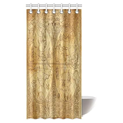Antique Decor Shower Curtain Set Ancient Map Of World Global History Stained Paper Oceans Lands Atlas