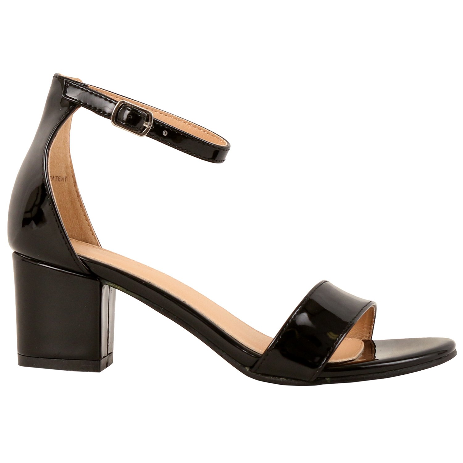 Guilty Shoes - Womens Ankle Strap Single Band Sandals - Low Chunky Block Comfortable Office Heeled Sandals, 07 Black Pat, 9 B(M) US