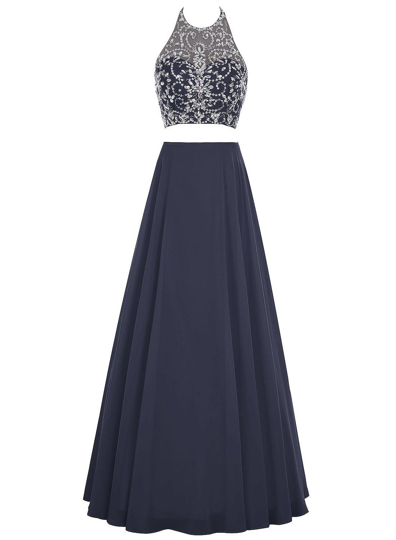 Bbonlinedress Damen Lang Zwei Teile Floral Beaded Prom Kleid Halter A-line Abendkleid