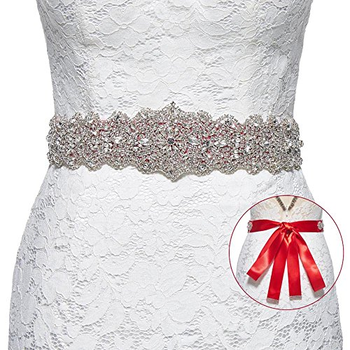 Sisjuly Women's Crystal Sash Rhinestone Wedding Belt for Prom Party Evening Dresses ()