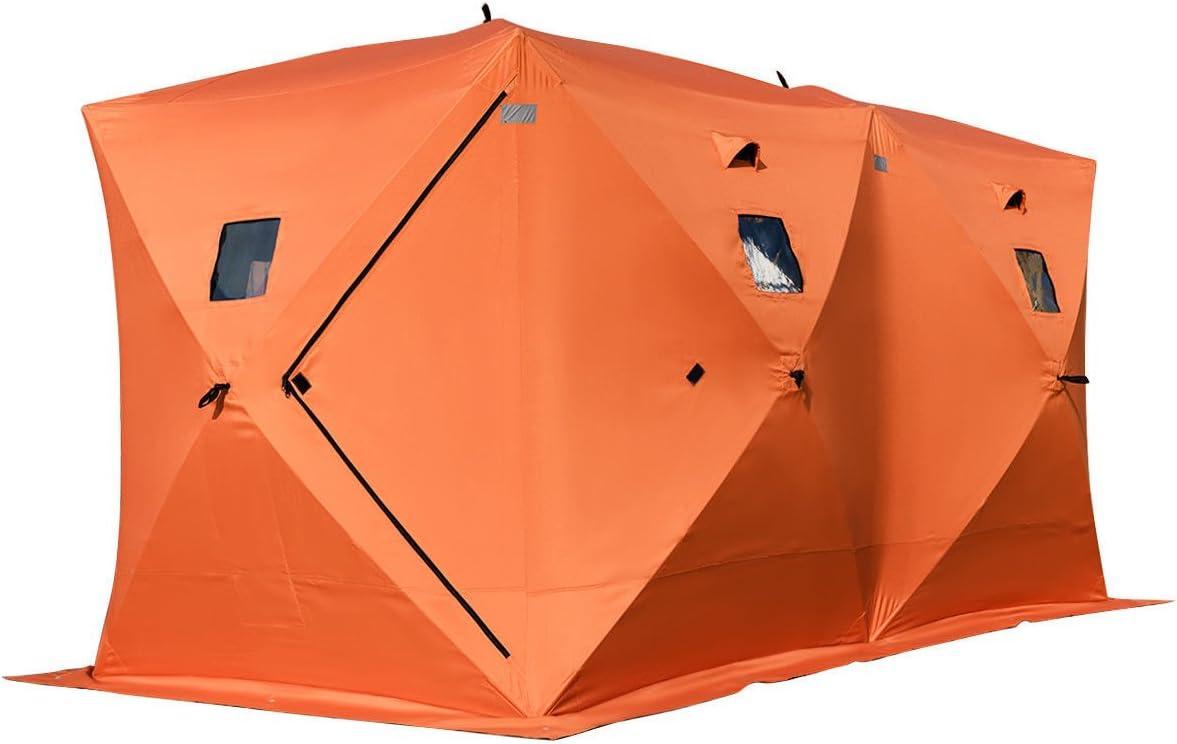 Alitop 防水ポップアップ 8人用 アイスシェルター フィッシングテント シャンティーウィンドウ キャリーバッグ付き