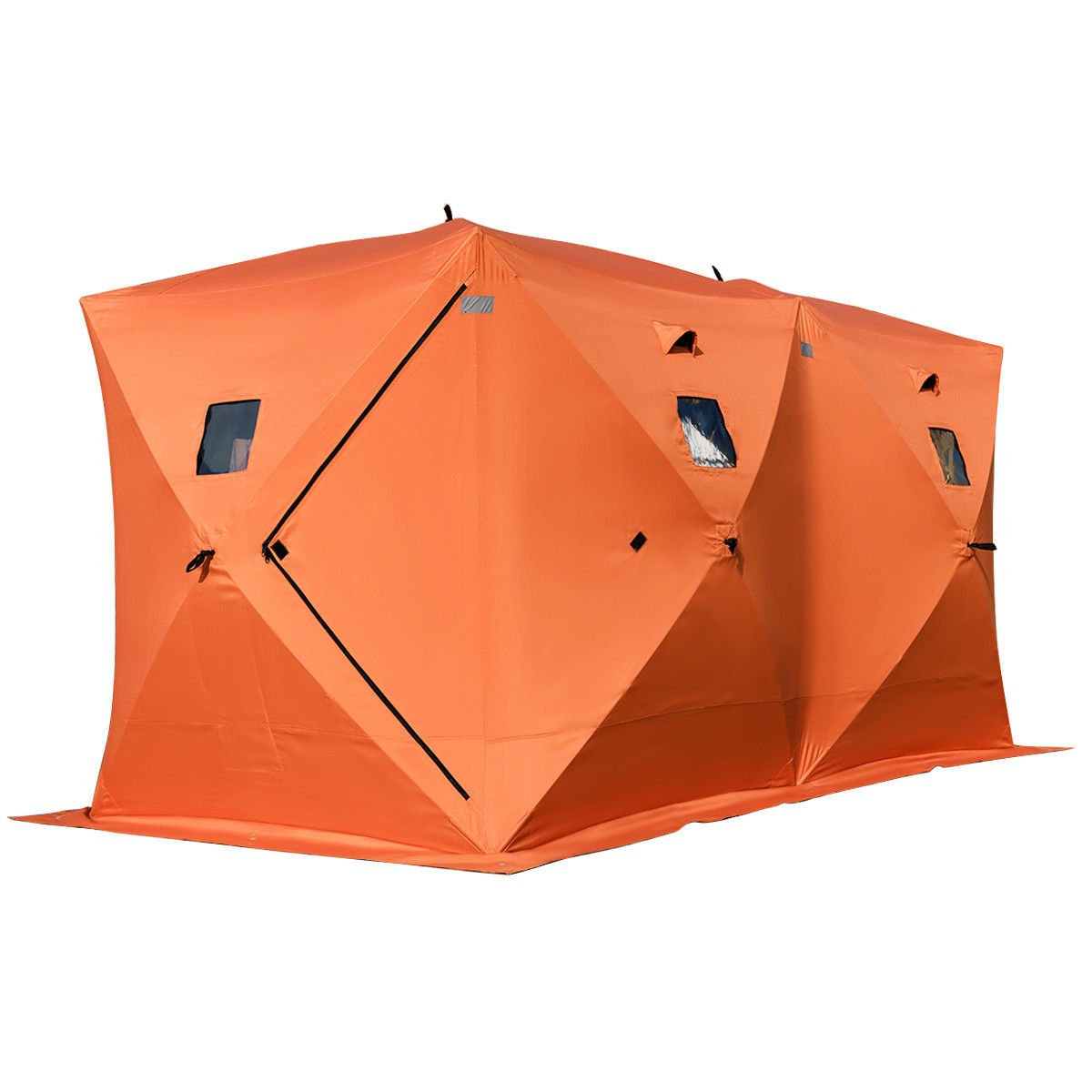 Tangkula Ice Shelter Waterproof Pop-up 8-person with Window Carry Bags Fishing Tent Shanty