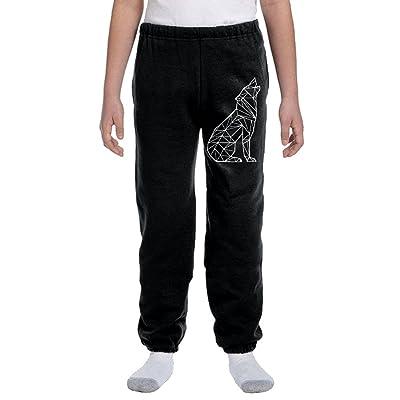 Luosi-77 Boys Soft/Cozy Sweatpants Geometric Wolf-1 Active Basic Jogger Fleece Pants