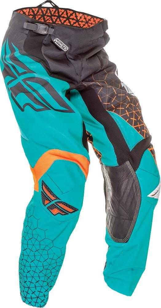 Fly Racing Unisex-Adult Kinetic Trifecta Pants (Black/Teal/Orange, Size 22)