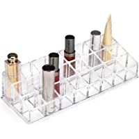 Acrylic Makeup Lipstick Lipgloss Organizer - Multi level 24 slot clear plastic make up organizers for brushes lip gloss nailpolish perfume storage! Cosmetic containers for mascara great vanity tray!