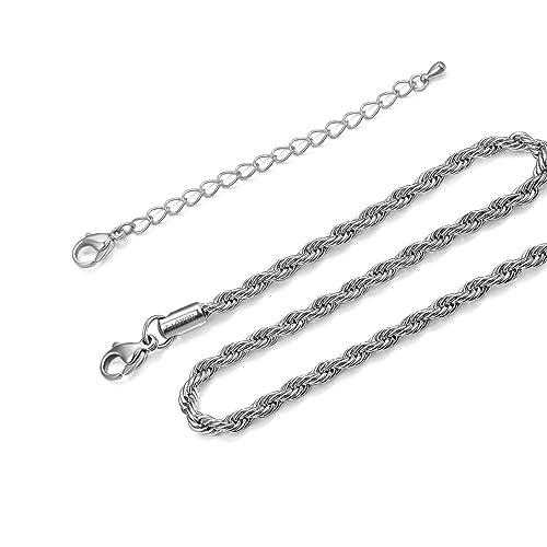 Acero inoxidable Twist cuerda cadena, collar para hombres ...