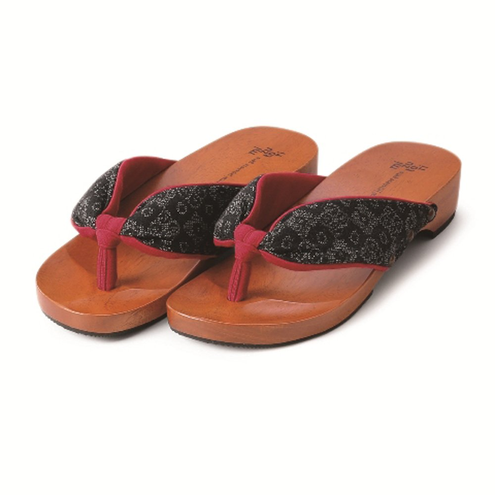 MIZUTORI Japanese Style Sandals Oshima pattern diamond Kasuri, Black red, 8.5-9 US Women / 7.5-8 US Men by MIZUTORI