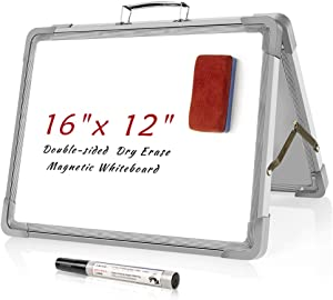 Small Dry Erase White Board,Magnetic Desktop Foldable Whiteboard Portable Mini Easel Double Sided on Table Top with Holder for Kids Drawing, Teacher Instruction, Memo Board