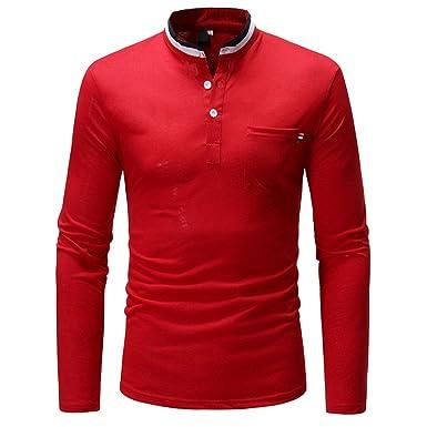 Camisetas Hombre Manga Larga/Originales Deporte Otoño Color Puro Manga Larga Collar del Soporte Botón Sudaderas Blusa Superior Camisas de ...
