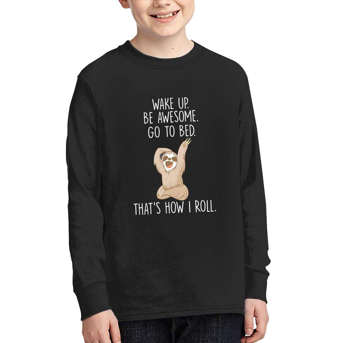 Funny Lazy Sloth Be Awesome Youth Long Sleeve Moisture Wicking Athletic T Shirts Casual Tee Graphic Tops for Teen Boys Girls