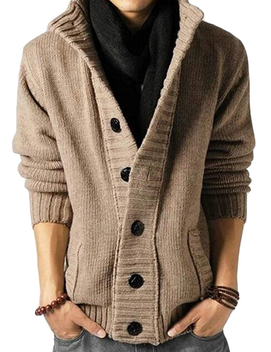 Pandapang Men Chunky Knitwear Long-Sleeve Single-Breasted Vogue Cardigan Sweater